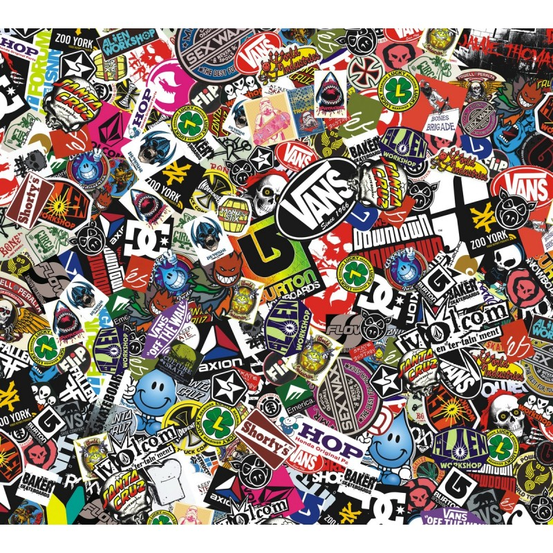 sticker bomb comic folie mit echtem logos 152x50cm. Black Bedroom Furniture Sets. Home Design Ideas